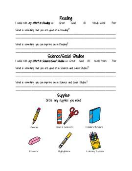 Parent Teacher Conference Self Evaluation Form