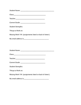 Parent Teacher Conference Sheet