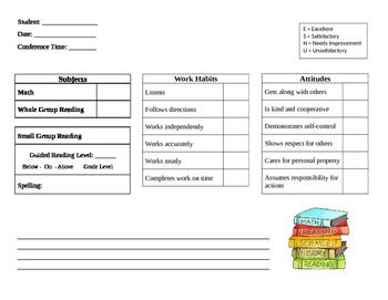 Parent/Teacher Conference Sheet