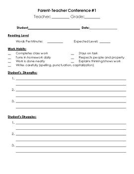 Parent/Teacher Conference Form (English/Spanish)