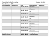 Parent-Teacher Conference Sign-In Sheet