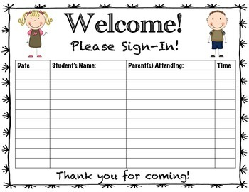 Parent Teacher Conference Sign In Sheet