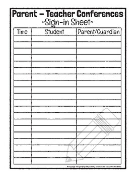 Parent - Teacher Conferences: Sign-In Sheet