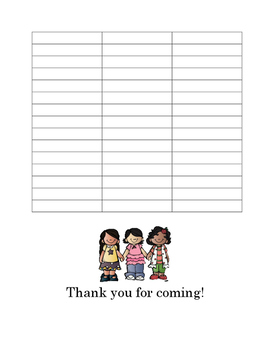 Parent/Teacher Conference Sign In Sheet - English/Spanish