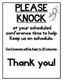 Parent Teacher Conference Sign- Please Knock