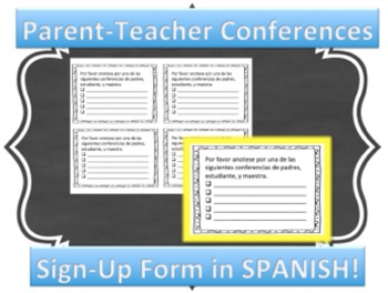 Parent-Teacher Conference Sign-Up IN SPANISH