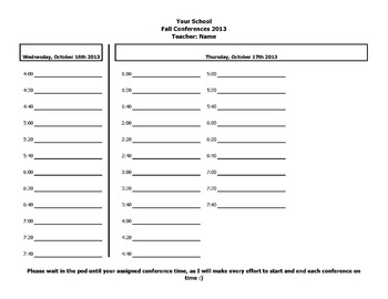 Parent Teacher Conferences Scheduling Sheet
