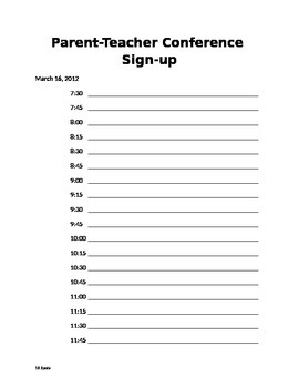 Parent-Teacher Conference Schedule Sign-Up Sheet