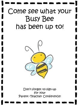 Parent Teacher Conference Sign-Up Sheet Bee Theme
