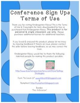 Parent Teacher Conference Sign Up Sheet Blue Polka Dot