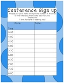 Parent Teacher Conference Sign Up Sheet Blue Polka Dot