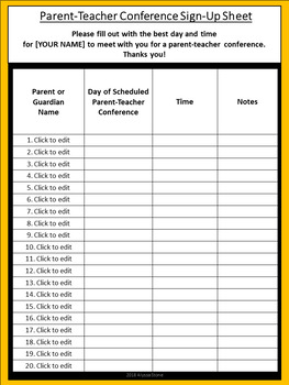 Parent Teacher Conference Sign Up Sheet Charlie Brown Tribute Colors