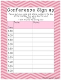 Parent Teacher Conference Sign Up Sheet Pink Chevron