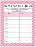 Parent Teacher Conference Sign Up Sheet Pink Chevron