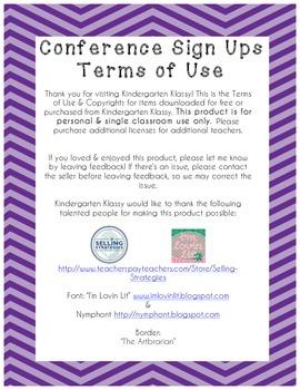 Parent Teacher Conference Sign Up Sheet Purple Chevron