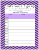 Parent Teacher Conference Sign Up Sheet Purple Chevron