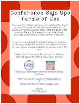 Parent Teacher Conference Sign Up Sheet Red Polka Dot