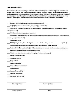 Parent Teacher Conference Student Goal Sheet