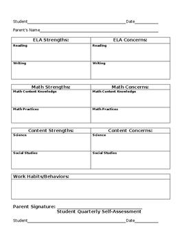 Parent/Teacher Conference & Student Refleciton Preparation