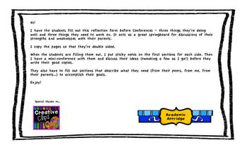 Parent Teacher Conference - Student Reflection Form
