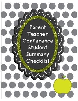 Parent Teacher Conference Student Summary