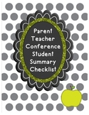 Parent Teacher Conference Student Summary