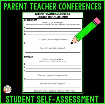 Parent Teacher Conference Student's Self Assessment