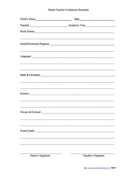 Parent Teacher Conference Summary Form