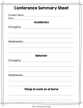 Parent Teacher Conference Forms- Freebie