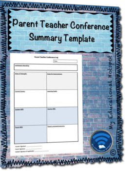 Parent Teacher Conference Summary and Next Steps Template