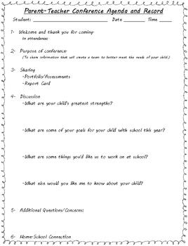 Parent-Teacher Conference Survival Pack for Kindergarten through Sixth Grade