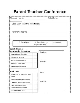 Parent Teacher Conference Template