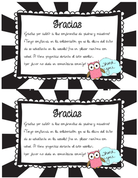 Parent-Teacher Conference Thank You Note- English and Spanish