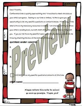 Parent Teacher Conference form/questionnaire