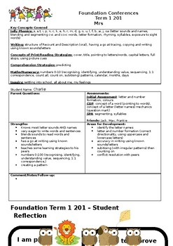 Parent/Teacher Conference proforma and Student Reflection sheet (Foundation)