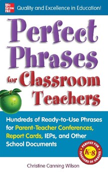 Parent Teacher Conference report cards, IEPs ready-to-use phrases