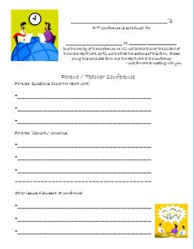 Parent Teacher Conference support documents