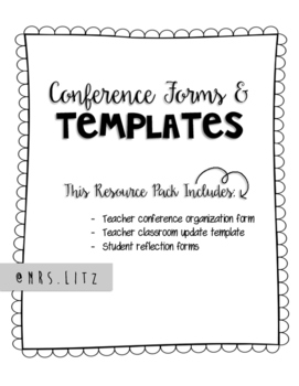 Parent Teacher Conferences | Easy to use forms and templates!