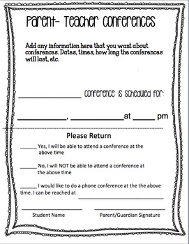 Parent-Teacher Conferences Editable Form and Time Sheet