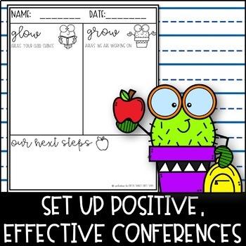 Parent Teacher Conferences- Glow and Grow EDITABLE