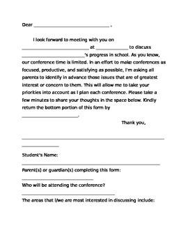 Parent Teacher Conferences (Letter to Parents)