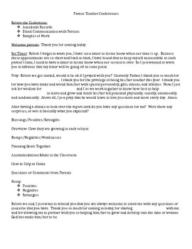 Parent Teacher Conferences Outline