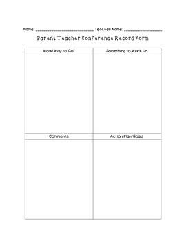 Parent Teacher Conferences Packet