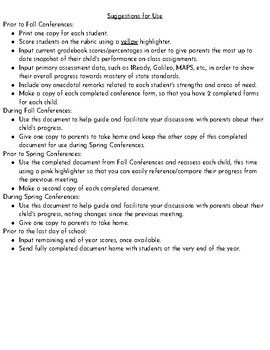 Parent-Teacher Conferences Form/Report/Rubric/Feedback/Guide
