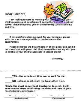 Parent - Teacher Conferences - Schedule an Appointment Letter