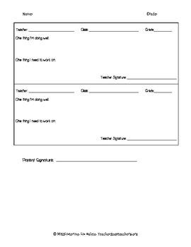 Parent Teacher Conferences Sheet