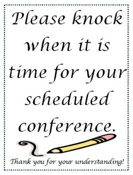 Parent Teacher Conferences Sign for Door