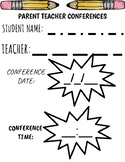 Parent Teacher Confrences Date and Time Template