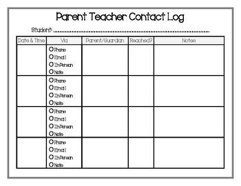 Parent Teacher Contact Log (Date, Time, Via, Notes, etc)