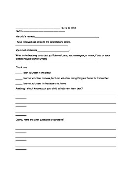 Parent Teacher Contract